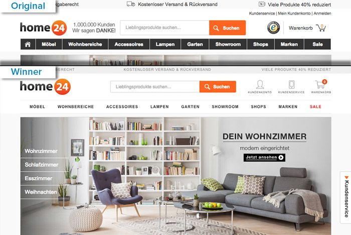 The original and the winning variation of the Home24 homepage