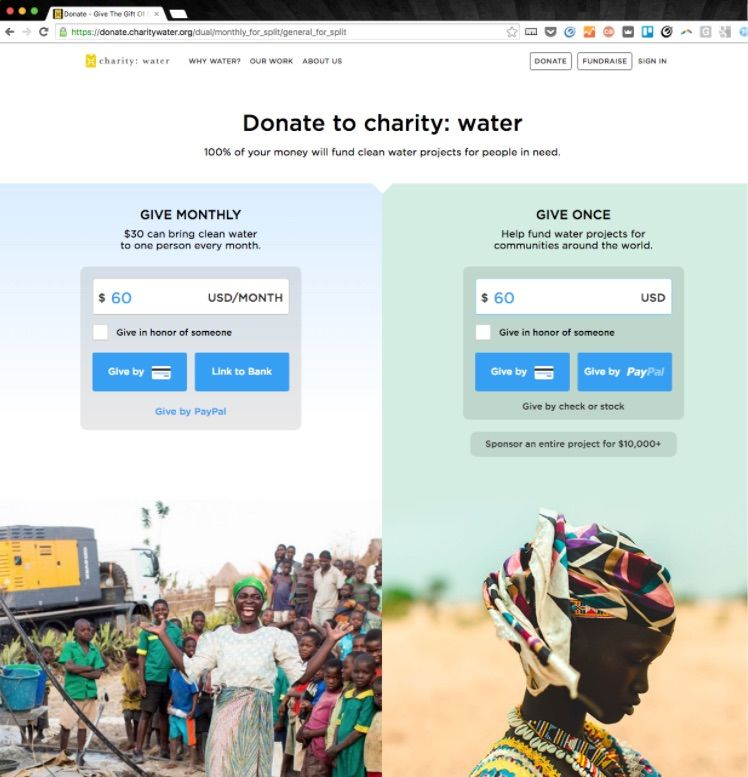 Charity Water A/B Test