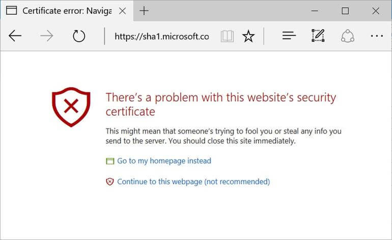 Edge unsecure website