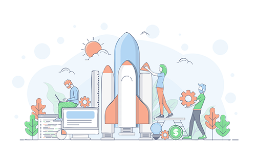 An illustration of people building a rocket ship.