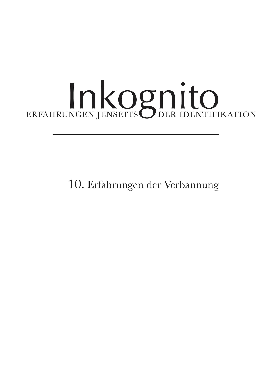 Cover Image for Inkognito: Erfahrungen der Verbannung